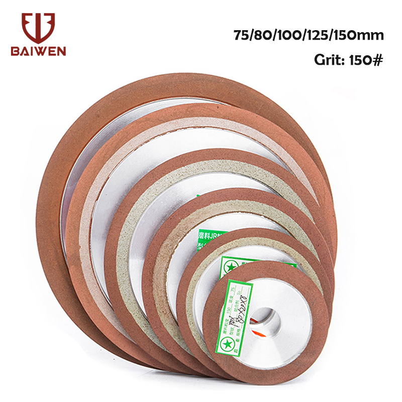 75/80/100/125mm 150Grit Diamond Grinding Wheel Cutting Disc Resin Bond Grinder For Tungsten Steel Milling Cutter Sharpener 1Pc