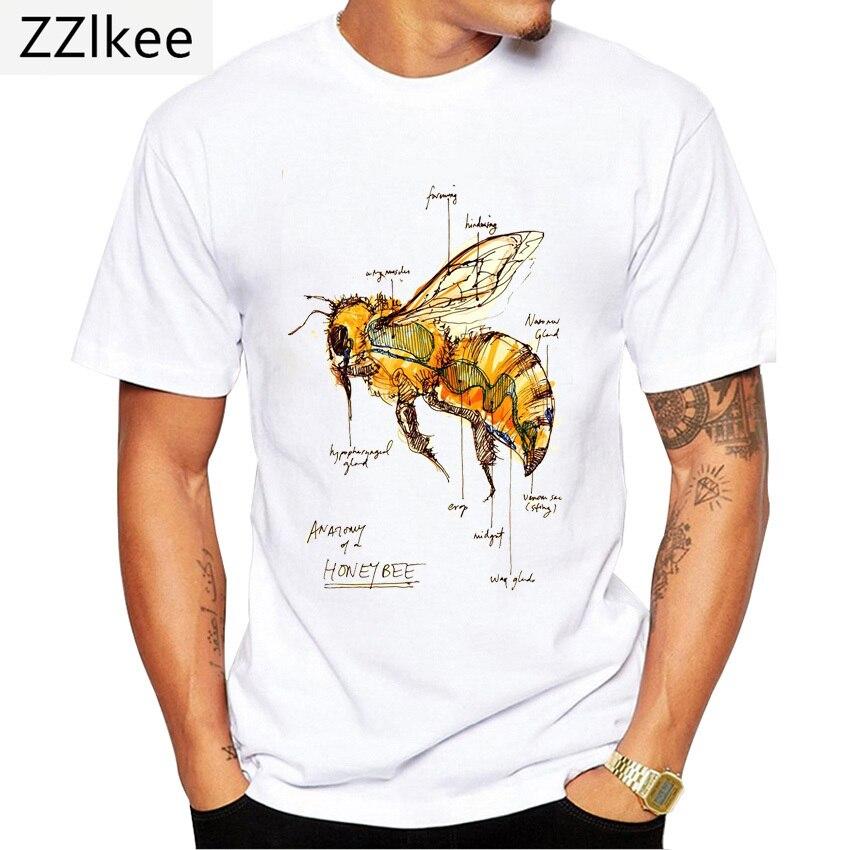 Футболка мужская с забавным принтом анатомии пчелы, модная тенниска в стиле Харадзюку, дизайнерский топ с забавным медом, повседневная майк...