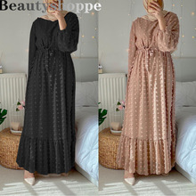 Robes Abaya Muslim Gowns Maxi-Dress Kaftan Bubble Flocked Long-Sleeve Islamic Chiffon