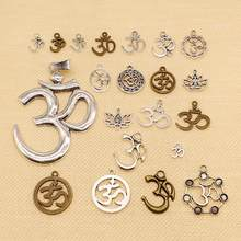 1 Piece Charms Yoga Om Lotus Padmasana Silver Plated Pendants Making DIY Handmade Tibetan Silver Plated Finding Jewelry HJ188(China)