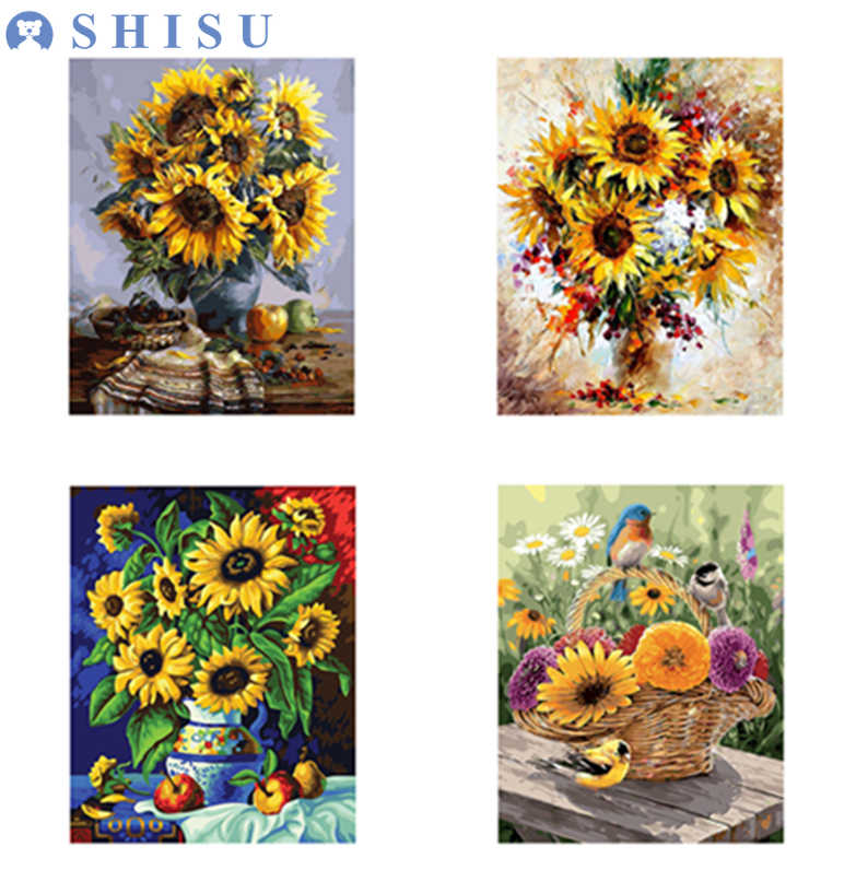 DIY sunflower Painting SunFlowers By Numbers Wall Art Digital Oil Painting On Canvas Picture Unframe Pictures Home Decor 40*50cm