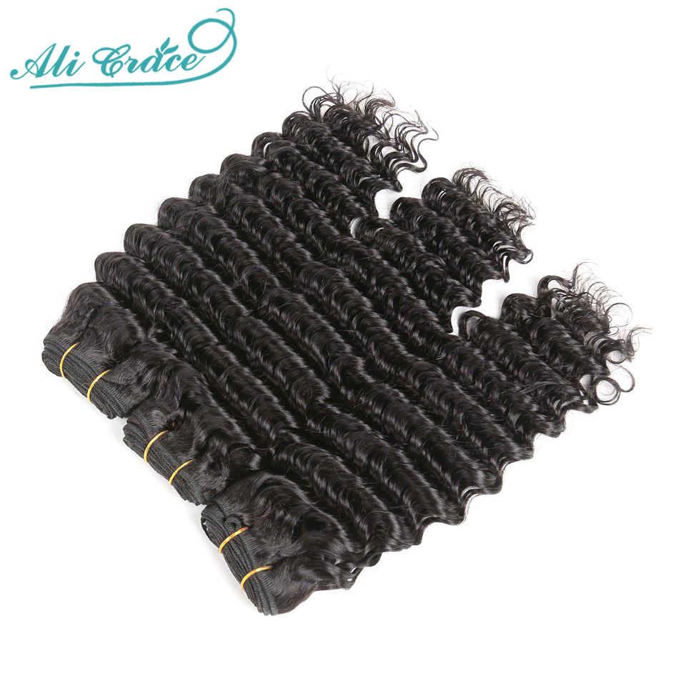 Ali Grace Braziliaanse Diepe Golf Bundels Met Sluiting 6X6 Zwitserse Kant Sluiting Met Bundels Grade 10A Natuurlijke Kleur remy Menselijk Haar