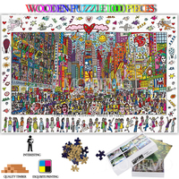 Times Square Wooden Jigsaw Puzzles 1000 Pieces Cartoon Painting Landscape Wooden Puzzle Toys for Adults 1000 Pieces Puzzle Games