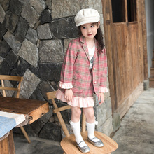 2pcs ruffle girls outfits kids plaid blazers +skirts jackets for coats children clothing autumn skirts