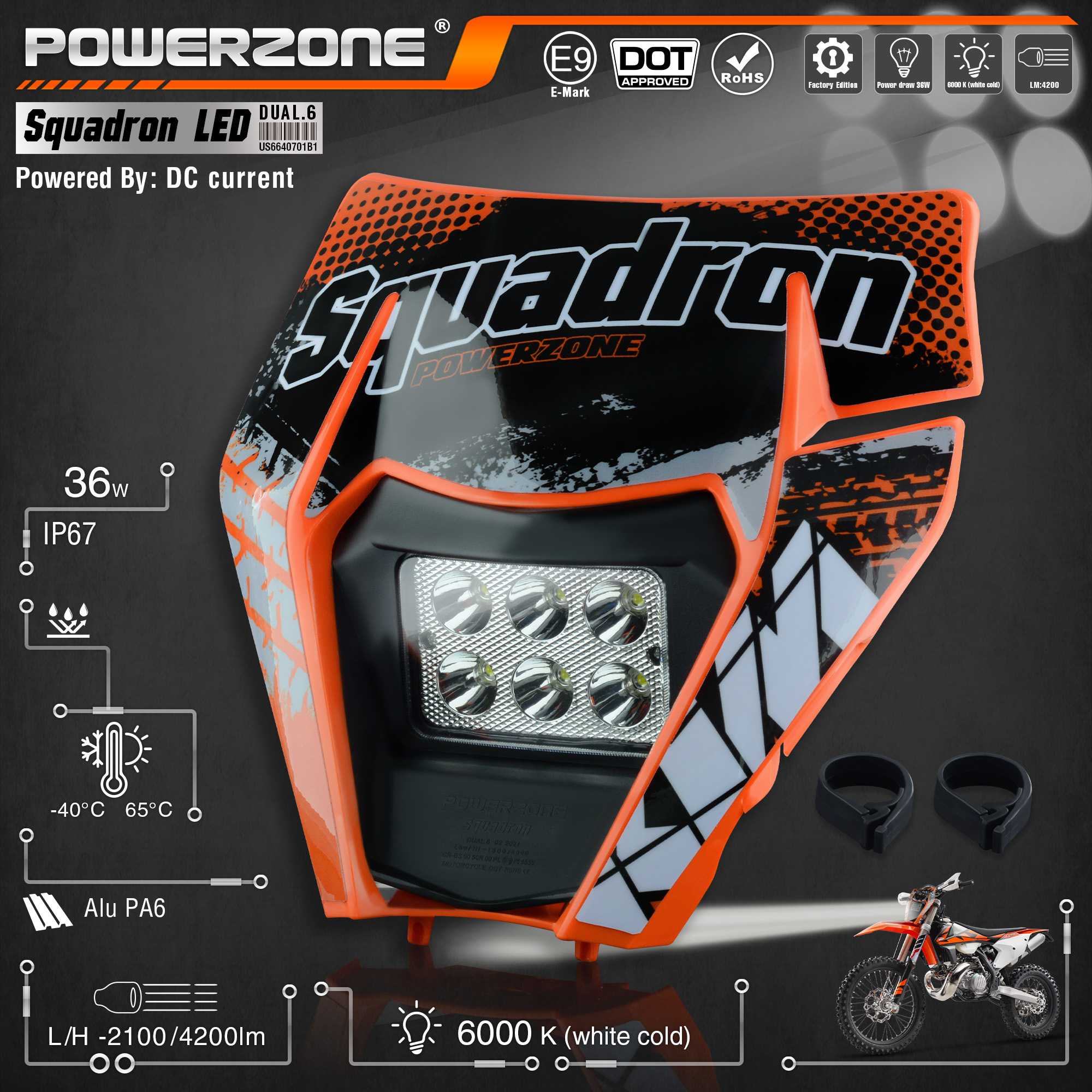 PowerZone Motorcycle LED Headlight Headlamp Head Light Supermoto Fairing For KTM EXC SXF MX Dirt Bike Enduro LED Headlight