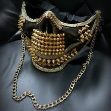 H3318 Мужская заклёпка маска на Хеллоуин и Рождество маскарадные маски мужские Клубные Выпускные вечерние ночных клубов шоу анонимированные аксессуары