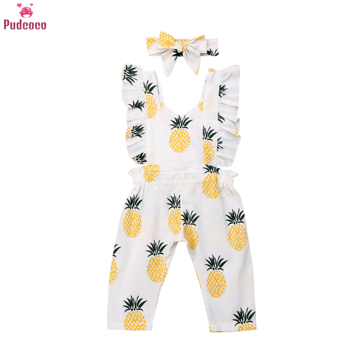 Toddler Newborn Baby Girl Jumpsuit Infant Clothes Sleeveless Ruffle Pineapple Printed Romper Headband Outfits Clothing Set