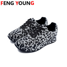 2020 Women Casual Shoes New Spring Sneakers Lace-Up Leopard Print Sewing Gold Woman Sexy Flats Sneakers Zapatos Mujer(China)