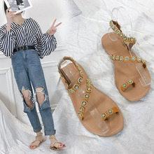 Women sandals summer shoes flat pearl sandals comfortable string bead slippers women casual sandals size Bottom Slippers Female senza fretta women shoes fashion summer beach women sandals casual women flat sandals slippers casual female sandals plus size