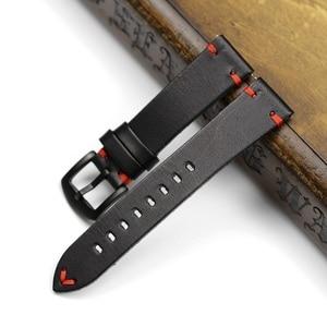 Image 5 - Handmade 20 มม.22 มม.สีดำสีดำสีขาวสีแดงเย็บ Cowhide หนังแท้สำหรับ Mido DW Casual นาฬิกาสายเข็มขัด