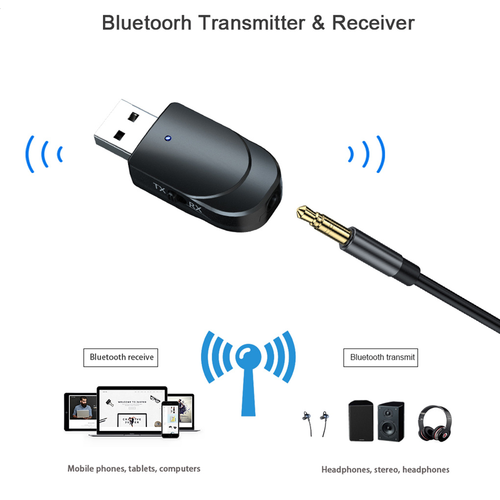 3 IN 1 Mini Bluetooth 5.0 Audio Receiver Transmitter 3.5mm Jack AUX USB Stereo Music Wireless Adapter For TV Car PC Headphones