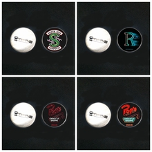 2019/ New Stainless Steel River Valley Town Riverdale Brooch Glass Convex Round Pin Male and Female Brooch Badge Gift