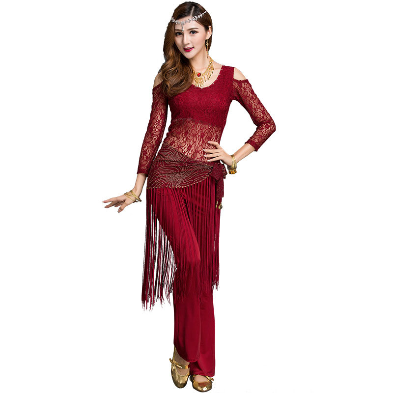 Dance Belly Dance Costume Top+pants Yoga Lace Tassel Dance Exercise Performance Clothing Trousers Suit