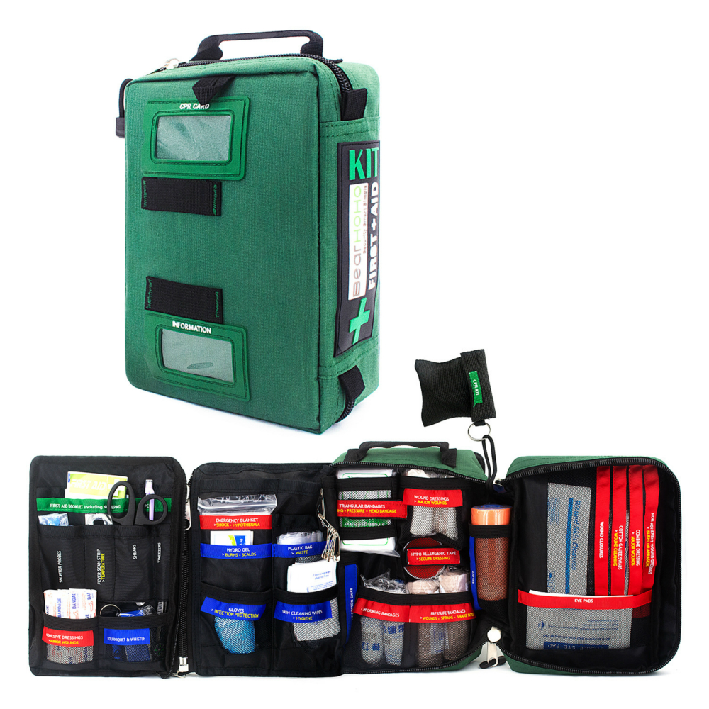 First Aid Kit Bag 255 Piece 4 Section Handy Lightweight Emergency Medical Rescue Home Outdoors Car Travel School Hiking Survival