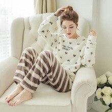 Зимняя Пижама, Женская Корейская Пижама, милый мультяшный фланелевый пижамный комплект, бархатная теплая Пижама с круглым вырезом, пижама, домашняя одежда для женщин