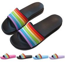 Women Summer Rainbow Slippers Slip on Slide Sandals Shoes Slides Cartoon Women Slippers Beach Home Flip Flops Women Sandalias