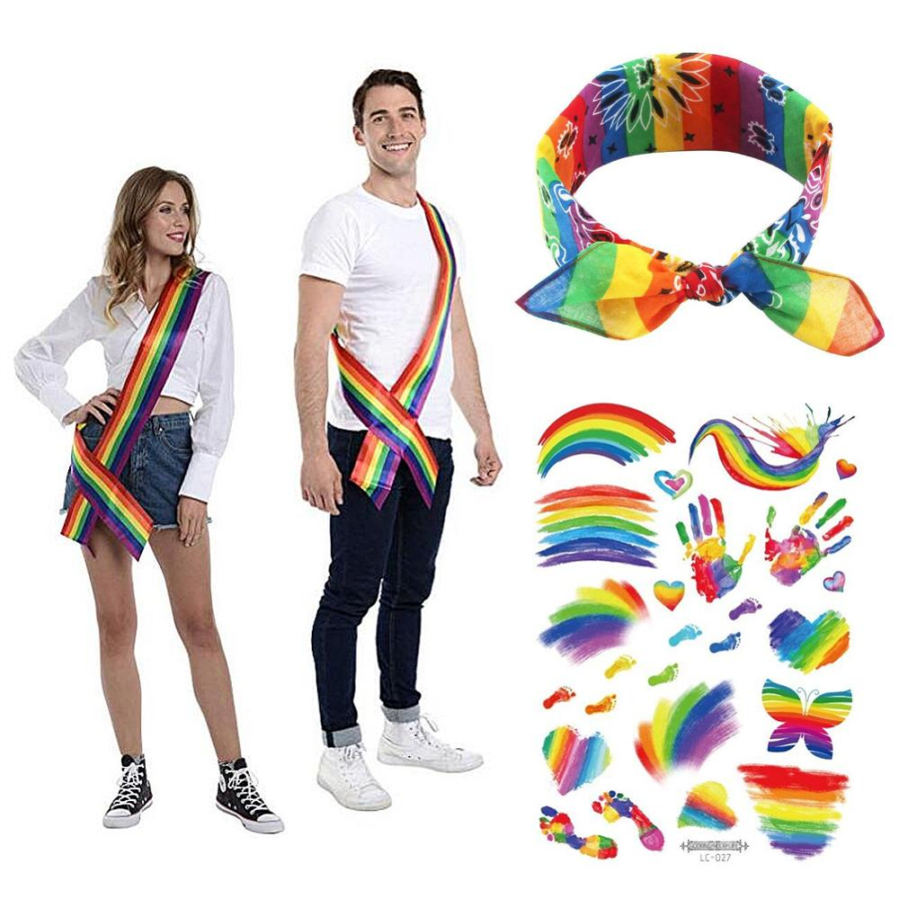 Rainbow Gay Pride LGBT Striped Polyester Satin Womans Neck Scarf Accessory