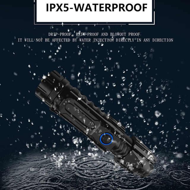السوبر مشرق XHP90.2 مصباح ليد جيب XLamp التكتيكية مقاوم للماء الشعلة شريحة ذكية التحكم مع أسفل هجوم مخروط USB قابلة للشحن