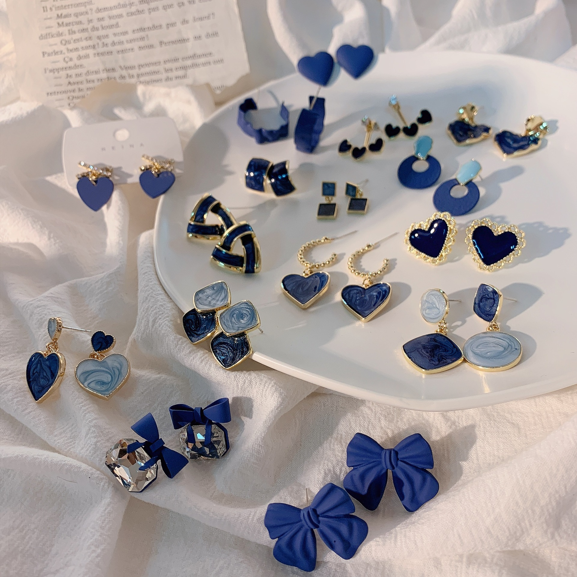 Восстановление с геометрическим рисунком и бантом круговой синий уха кольцо для женщин обувь для девочек ясно аэрозольная краска сплава кр...