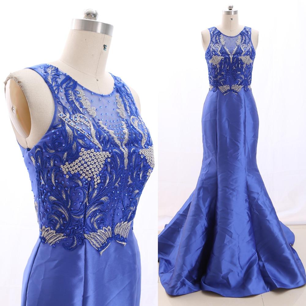 MACloth Blue Mermaid O Neck Floor-Length Long Crystal Tulle   Prom     Dresses     Dress   M 266403 Clearance