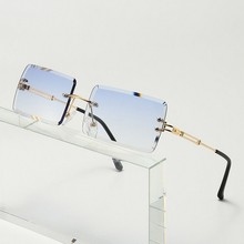 Frameless Trimmed Sunglasses Ladies Square Gradient Sunglasses