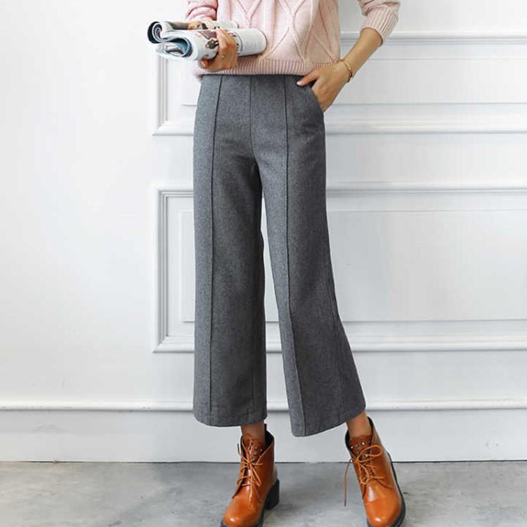 Autumn Winter Fashion Women Brief Design Wool Vintage Blends Soft Touching Elegant Loose   Wide     Leg     Pants   Pockets Trousers