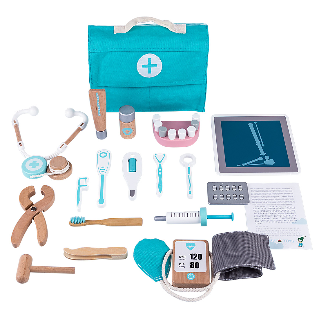 Rowsfire 18Pcs Children Wooden Pretend Dentist Toolbox Doctor Medical Playset with Stethoscope