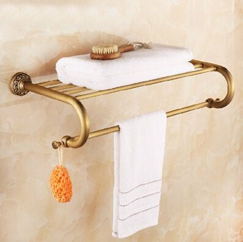 Vidric Art carved Wall Mounted double tier total brass material Europe style Bathroom shelves bathroom accessories towel rail