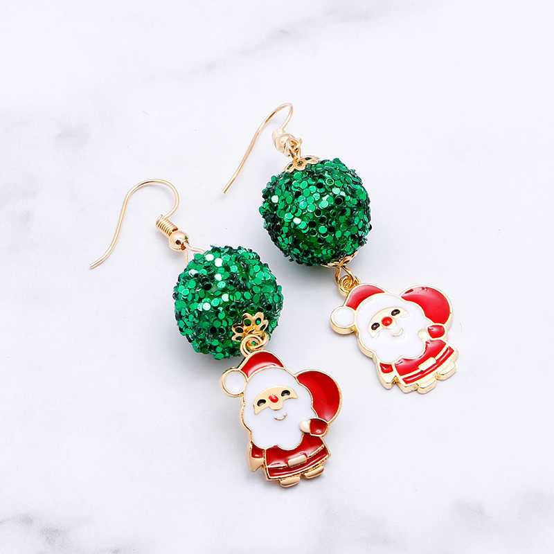 Zhijia Merry Christmas Earrings Deer Santa Claus Christmas Tree Snowflake Cute Women Earrings Jewelry Best Christmas Gifts
