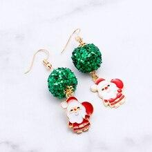 цена на Zhijia Merry Christmas Earrings Deer Santa Claus Christmas Tree Snowflake Cute Women Earrings Jewelry Best Christmas Gifts