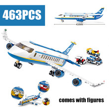 463 pcs Air Plane Passenger Airport Building Blocks Bricks Boy Toys Chilren Gift For Children Sluban Brick Compatible With Lego все цены