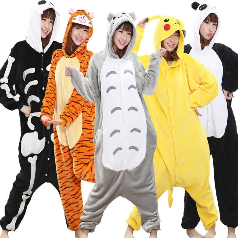 Adult Onesie Women Winter Animal Pajamas Suit Flannel Warm Soft Sleepwear Onepiece Winter Jumpsuit Pijama Cosplay