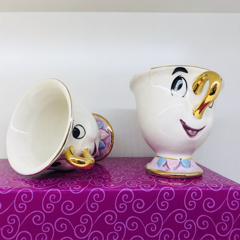Hot sale Classics Two Piece Beauty and the Beast Mrs Potts' son Du Face,Chip Only Mug Tea Coffee Cup for friend Nice Gift image