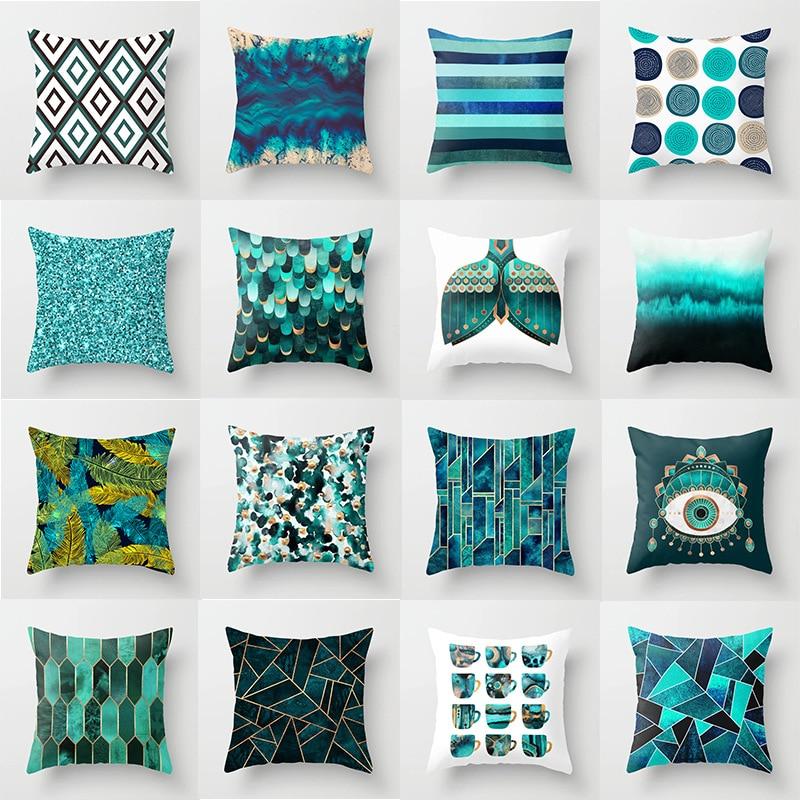 Modern Green Teal Blue Geometric Cushion Cover Nordic Fashion Home Decorative Pillow Polyester Cotton Sofa Car Chair Pillow Case