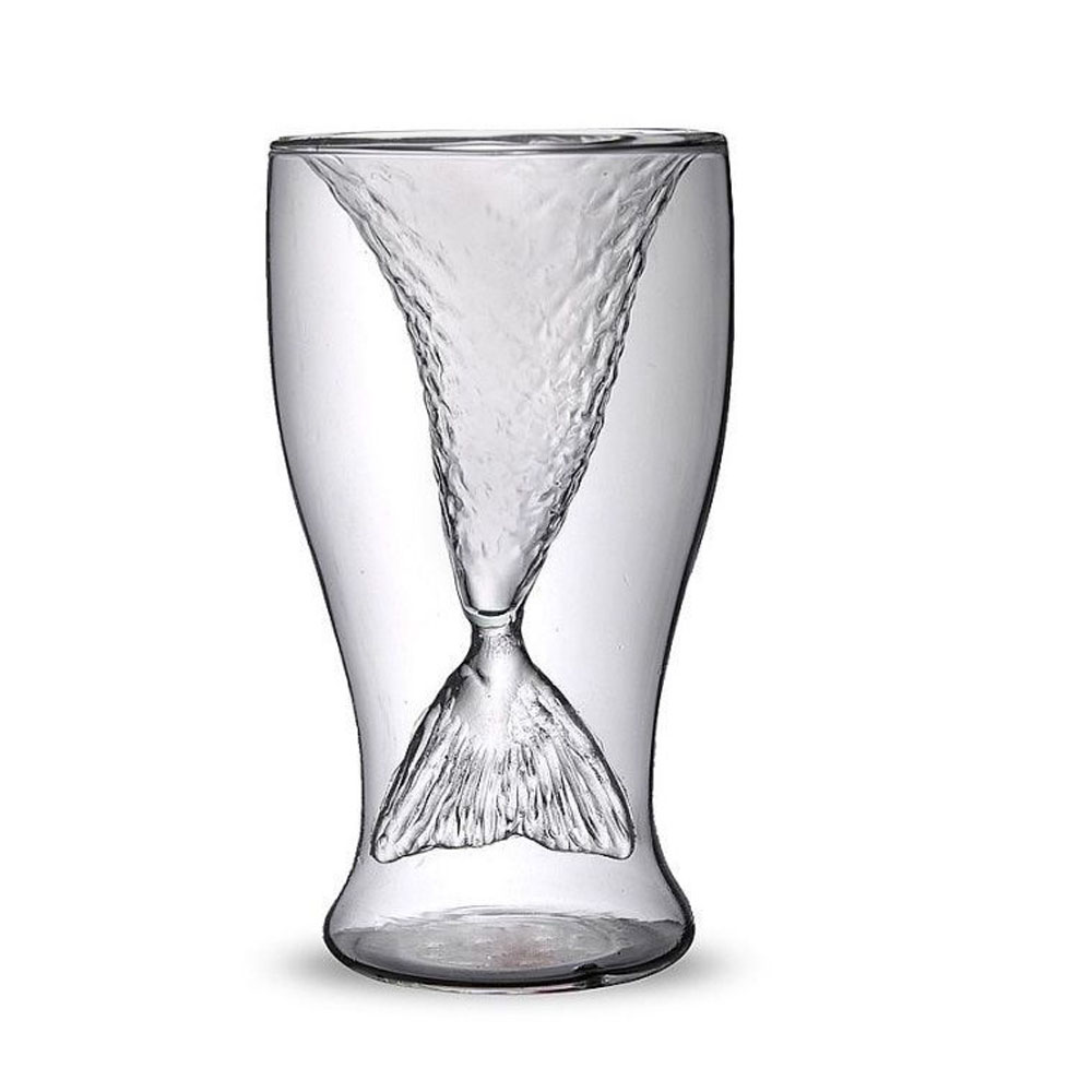 Creative Mermaid Cocktail Glass Cup 100ml Wine Double Wall Layers Glasses Cups Funny Whiskey Vodka Shot Glass Cute Lady Beer Mug