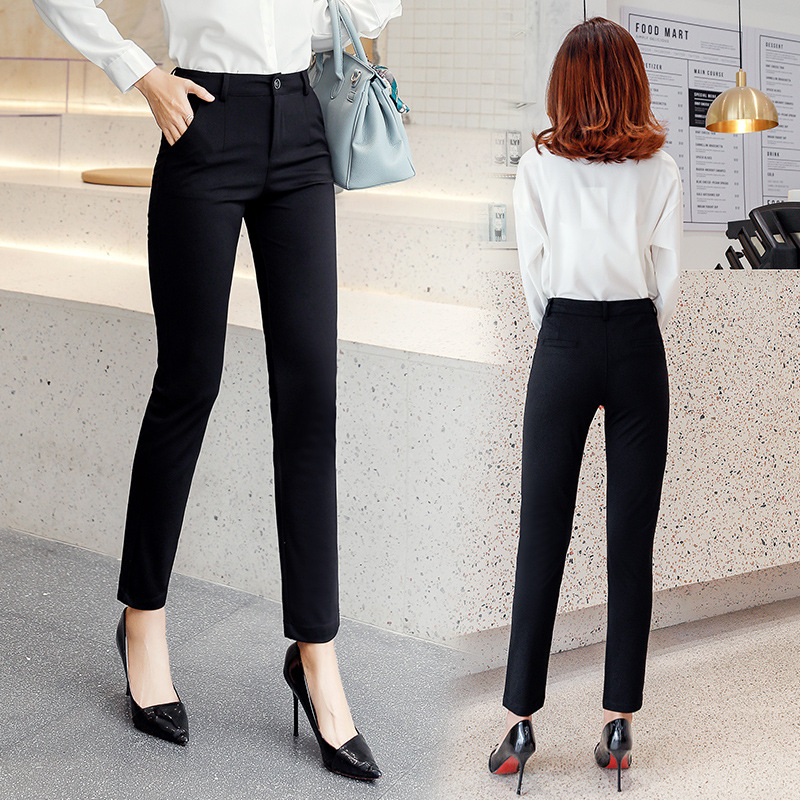 Suit Pants Women's Business Capri Pants 2019 New Style Summer And Autumn Black And White With Pattern Slim Fit Straight-Cut Thin