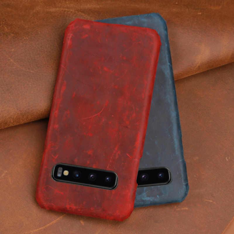Caixa do telefone Para Samsung s10 lite a80 a10 s4 s5 nota 4 5 7 a3 a5 a6 a7 a8 2016 a9 2017 Crazy horse pele para j3 j5 j6 j8 j7 2018