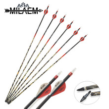 6 Pcs Spine 300 Carbon Arrow With Camo Shaft For OD 7.6 mm ID 6.2 Archery Shooting Hunting Pure Accessories