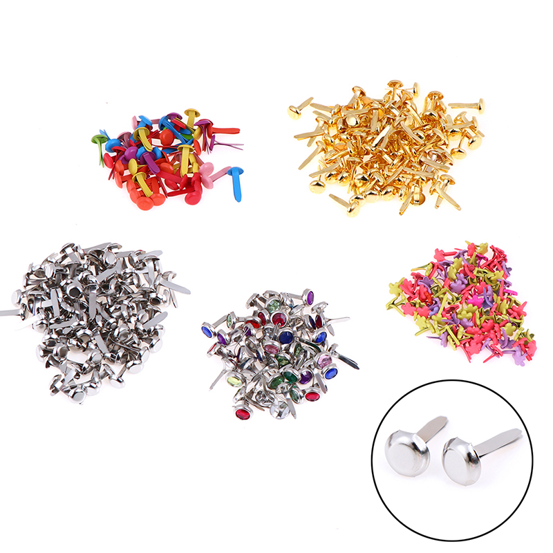 50/100Pcs DIY Iron Round Metal Mini Brads For Scrapbooking Accessories Embellishment Fastener Handmade Crafts image