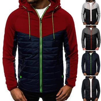 Mens Autumn Winter Hoodies Zip Up Hooded Jacket Color Block Warm Coat 1