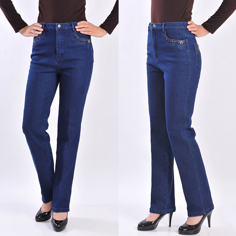 High Quality Spring Mother Pants Female Jeans High Elastic Waist Plus Size Slim Lady's Trousers