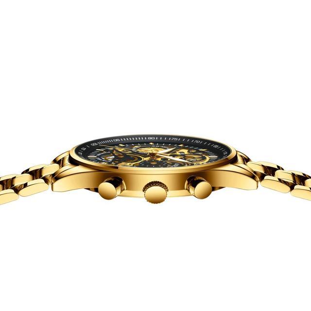 Nibosi vip 1 stainless steel skeleton fashion mens watches with black top brand luxury sports quartz watch men relogio masculino