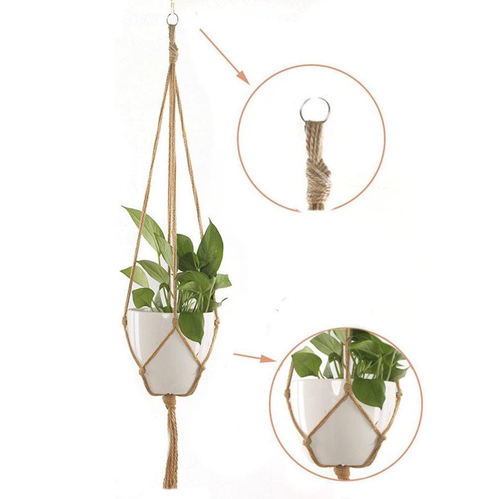 Макраме веревка растение вешалка корзина цветок горшок вешалка держатель сад декор цветок горшок конопля веревка подвеска сетка