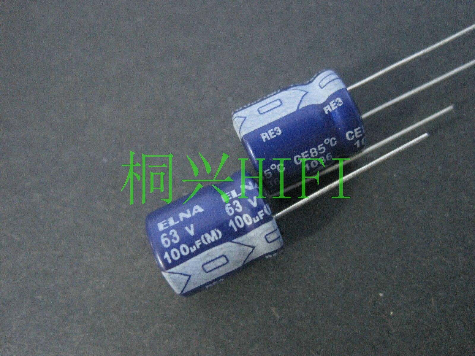 20pcs NEW ELNA RE3 63V100UF 10X12.5MM Audio Electrolytic Capacitor 100uF/63V Blue Robe 100UF 63V
