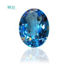 Naturalny niebieski topaz 71 5ct eliptyczny goły kamień 24 2*31 3*12 9mm pierścień kolczyki dostosowane główny kamień tanie tanio MELE Grzywny