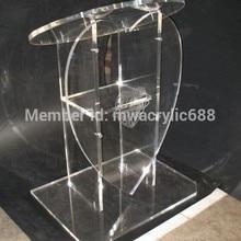Популярность форма сердца красивый современный дизайн дешевая прозрачная акриловая трибуна подиум оргстекло