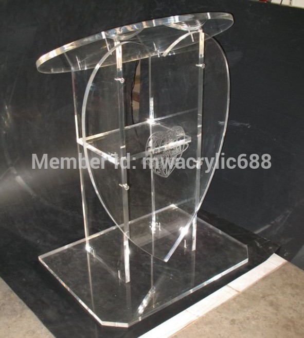Free Shipping Popularity Heart Shape Beautiful Modern Design Cheap Clear Acrylic Lectern Podium Plexiglass