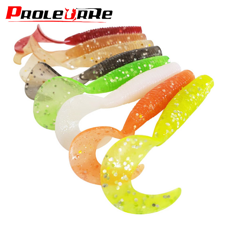 5pcs Fishing Soft Lures 60mm 1.8g Curl Worm Long Tail Swimbaits Artificial Silicone Bait Salt Odor Bass Pesca Fishing Tackle