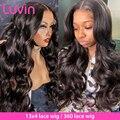 Luvin волнистые 360 кружевных фронтальных париков для тела 26 28 30 дюймов предварительно выщипывающиеся с волосами младенца бразильские человеч...