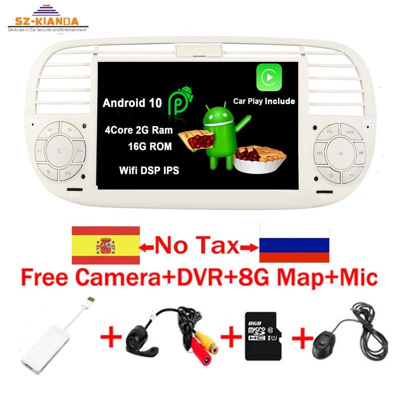 """7 """"lecteur DVD de voiture androïde 10 de noyau de quadruple d'écran tactile de HD pour FIAT 500 Radio GPS DSP WIFI 3G Bluetooth commande de volant stéréo  """